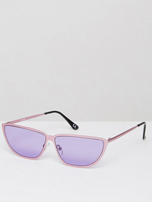 Solglasögon - ASOS 80s Small Metal Cat In Pink Lens With Purple Flash Lens