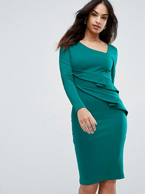 City Goddess Long Sleeve Pencil Dress With Ruched Detail - Emerald green