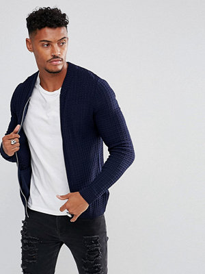 Bomberjackor - ASOS Knitted Muscle Fit Bomber Jacket In Navy