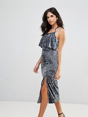 Liquorish Velvet Midi Dress With Two Front Slits