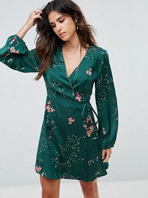 Liquorish Floral Print Wrap Dress With Long Sleeves