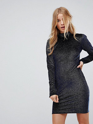Glamorous High Neck Bodycon Dress In Glitter Velvet