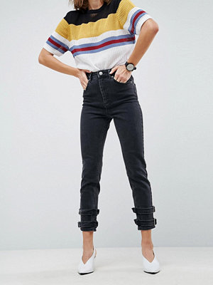ASOS FARLEIGH High Waist Slim Mom Jeans in Washed Black with Buckle Hem Detail