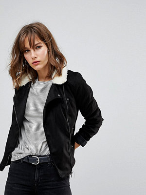 Jdy Faux Suede Biker Jacket With Borg Collar