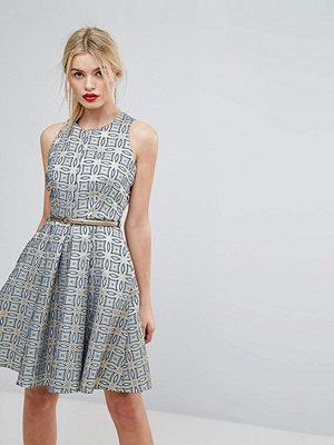 Closet London Premium Jacquard Circle Skater Dress With Belt