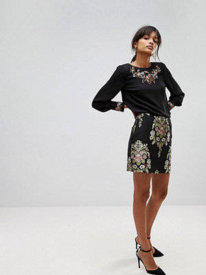 Oasis Embroidered Floral Jacquard Skirt