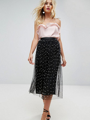 ASOS Faux Pearl Embellished Fully Lined Tulle Midaxi Skirt