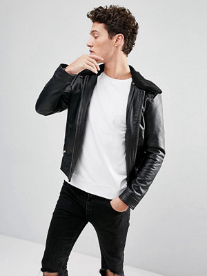 Skinnjackor - Selected Homme Leather Jacket with Removable Borg Collar