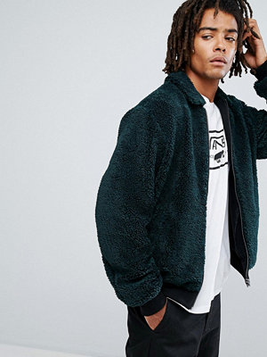 Bomberjackor - ASOS Borg Bomber Jacket in Bottle Green