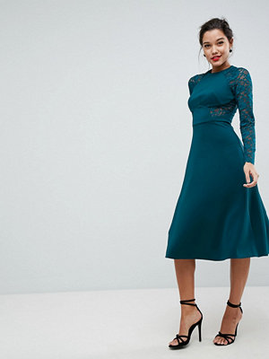ASOS Premium Midi Scuba Skater Dress with Lace Sleeves - Forest green