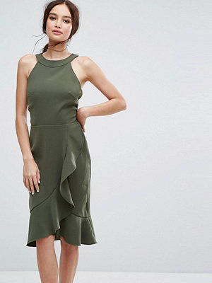 Paper Dolls High Neck Midi Dress with Frill Detail