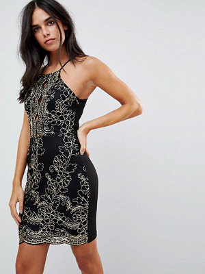 Parisian Embroidered Metallic Dress - Black gold