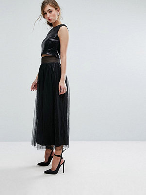 Little Mistress Allover Sequin Midi Skirt With Mesh Tulle Overlay