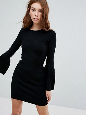 Bershka Flared Sleeve Ribbed Swing Dress