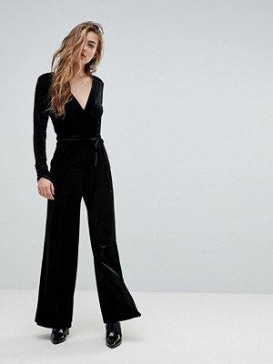 Miss Selfridge V Neck Plunge Velvet Jumpsuit