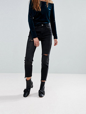 Bershka Straight Leg Washed Black Jean