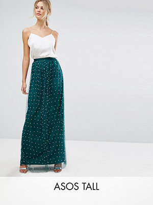 Asos Tall Faux Pearl Embellished Tulle Maxi Skirt - Forest green