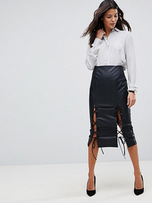 ASOS Leather Look Pencil Skirt with Lace Hem Detail