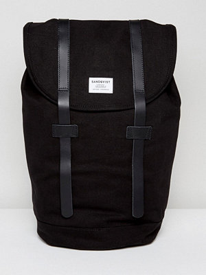 Sandqvist ryggsäck Stig Organic Cotton Backpack With Leather Straps