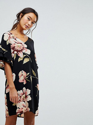 New Look Floral Print Ruffle Sleeve Tunic Dress