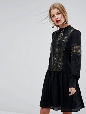 Y.a.s Smock Dress With Gold Lace