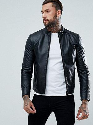 Skinnjackor - Armani Jeans Fine Textured Leather Biker Jacket