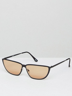 Solglasögon - ASOS 80s Small Metal Cat Eye Fashion Sunglasses with Light Brown Lens
