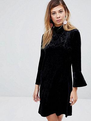 Monki High Neck Velvet Dress