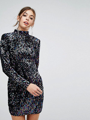 PrettyLittleThing Long Sleeve Sequin Dress