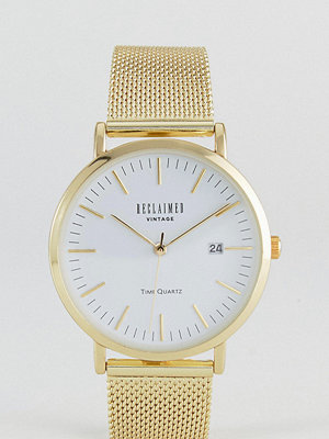 Klockor - Reclaimed Vintage Inspired Mesh Watch In Gold 36mm