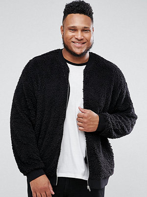 Bomberjackor - ASOS PLUS Oversized Bomber Jacket In Borg