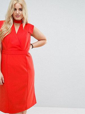 ASOS Curve Wrap Front Pencil Midi Dress
