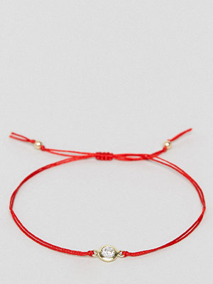 Dogeared armband x ASOS EXCLUSIVE Friendship Swarovski Crystal on Red Silk Adjustable Bracelet