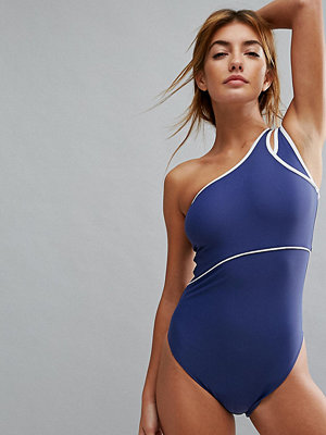 Baddräkter - Puma Exclusive To ASOS One Shoulder Swimsuit