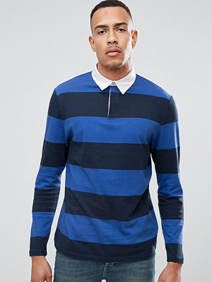 Pikétröjor - ASOS TALL Relaxed Stripe Long Sleeve Rugby Polo in Heavyweight Jersey