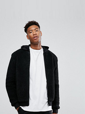 Bomberjackor - ASOS TALL Borg Bomber Jacket in Black