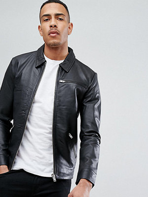 Skinnjackor - Selected Homme TALL Leather Jacket