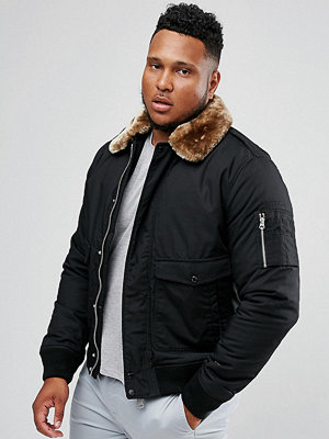 Bomberjackor - Schott PLUS Air Bomber Jacket Detachable Faux Fur Collar Slim Fit in Black/Beige