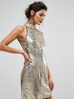 TFNC High Neck Mini Dress In Gold Sequin