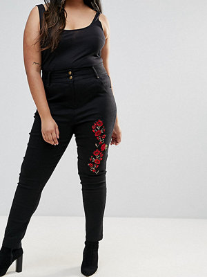 Unique 21 Hero Plus High Waisted Mom Jeans With Floral Embroidery