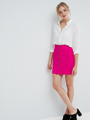 Asos Tall Tailored Uber High Waist Mini Skirt With Button Through and Pocket Detail