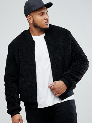 Bomberjackor - ASOS PLUS Borg Bomber Jacket in Black
