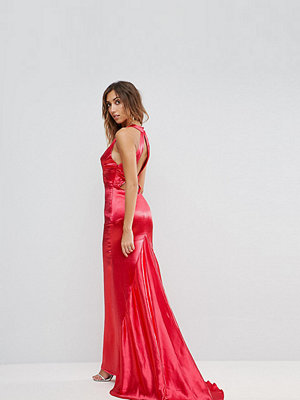 Jarlo Tall High Neck Fishtail Maxi Dress With Strappy Open Back Detail