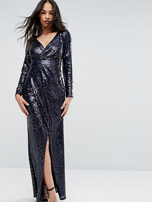 TFNC Wrap Over Sequin Maxi Dress