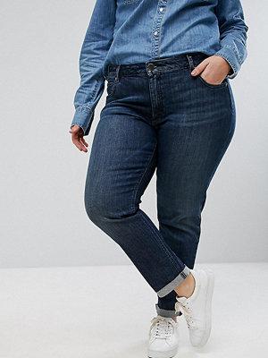 ASOS Curve KIMMI Shrunken Boyfriend Jeans in Clara Darkwash Blue