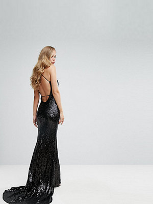 Bariano Sequin Fishtail Gown With Exposed Back