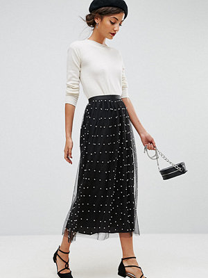 Asos Tall Faux Pearl Embellished Tulle Fully Lined Midi Skirt