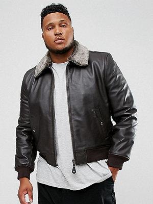 Skinnjackor - Schott PLUS Leather Flight Jacket Detachable Faux Fur Collar Slim Fit in Brown
