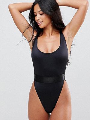 ASOS Petite High Leg Elastic Waist Swimsuit