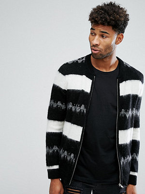Bomberjackor - ASOS TALL Mohair Wool Blend Bomber Jacket In Monochrome Stripe